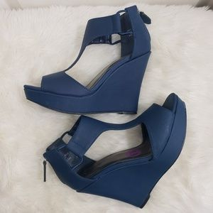 Jasmine 6.5 vegan leather navy wedge heels